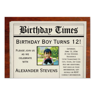 Custom Photo Birthday Party Newspaper Invitation