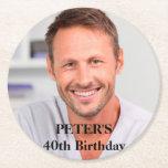 "Custom Photo Birthday Party Round Paper Coaster<br><div class=""desc"">Custom Photo Paper Coaster</div>"