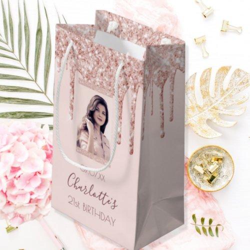 Custom photo birthday rose gold glitter pink small gift bag