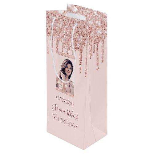 Custom photo birthday rose gold glitter pink wine gift bag