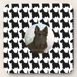 Custom Photo Black and White Scottish Terrier Coaster