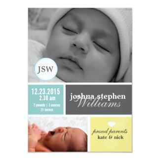 "Custom photo block baby boy announcemet 4.5"" x 6.25"" invitation card"