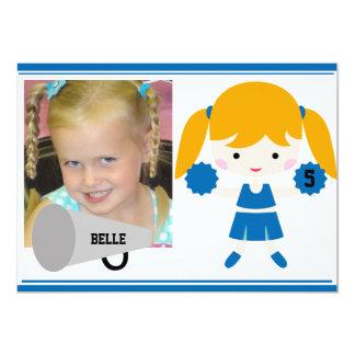 "Custom Photo Blue Cheerleader Birthday Invite 5"" X 7"" Invitation Card"