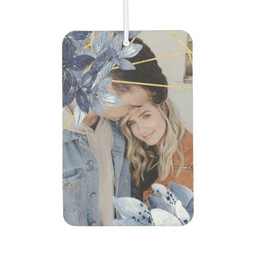 Custom Photo Blue Flower Frame Personalized Air Freshener