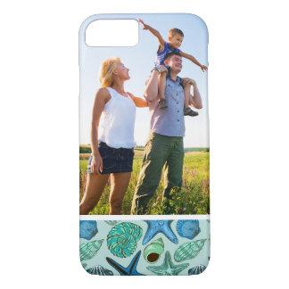 Custom Photo Blue Seashells & Starfish Pattern iPhone 7 Case