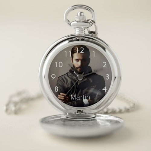 Custom photo boyfriend husband name white pocket watch
