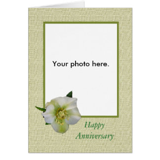 Custom photo card, Hellebore,Happy Anniversary Card