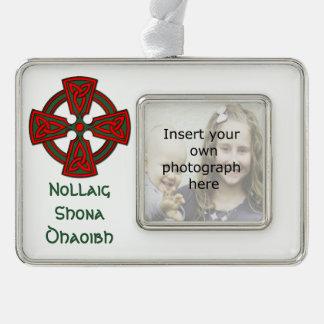Custom Photo Celtic Cross Irish Christmas Ornament