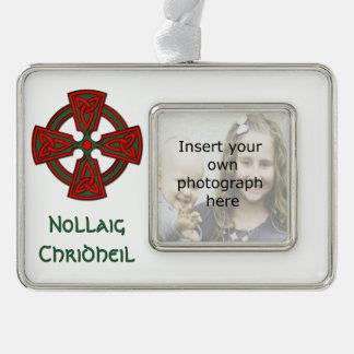 Custom Photo Celtic Cross Scottish Xmas Ornament