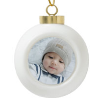 Custom Photo Ceramic Ball Christmas Ornament