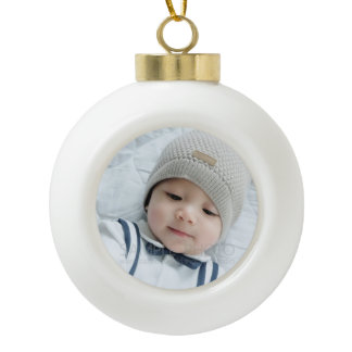 Custom Photo Ceramic Ball Christmas Ornament