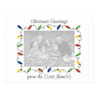 Custom Photo Christmas Card-Christmas Lights Postcard