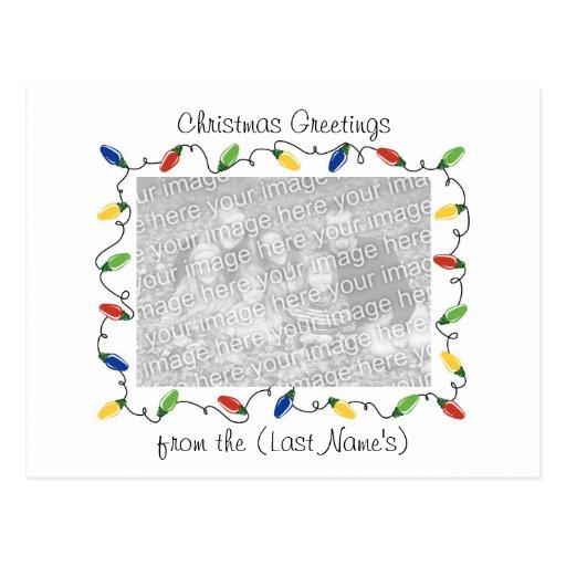 Custom Photo Christmas Card-Christmas Lights Post Card
