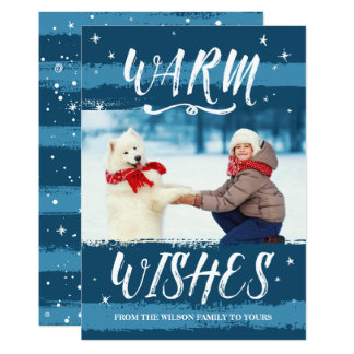 Custom Photo Christmas Cards | Warm Wishes | Blue