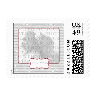 Custom Photo Christmas Circles - Red Silver Stamp