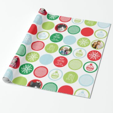 Christmas Themed Custom Photo Christmas Dots Gift Wrap