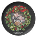 Custom Photo Christmas Holiday Wreath Plate plate