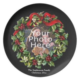 Custom Photo Christmas Holiday Wreath Plate