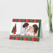 Custom PHOTO Christmas, Trees and Stripes Card