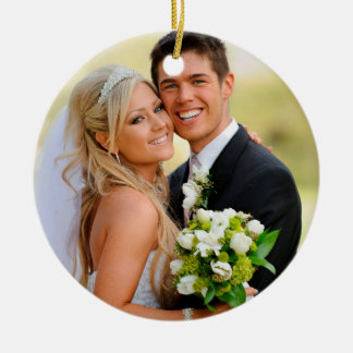 Custom Photo Christmas Wedding Circle Ornament