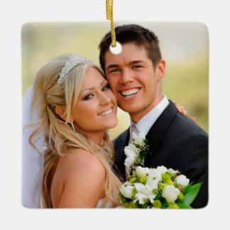Custom Photo Christmas Wedding Square Ornament