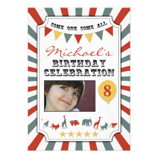 Custom Photo Circus Birthday Party Invitations