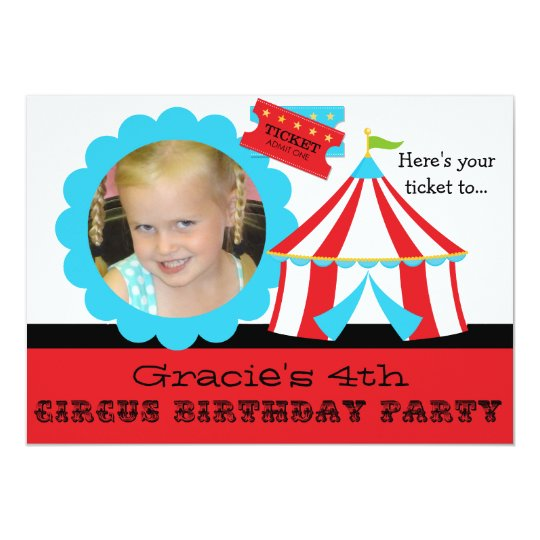 Custom Photo Circus Ticket Birthday 5x7 Invitation
