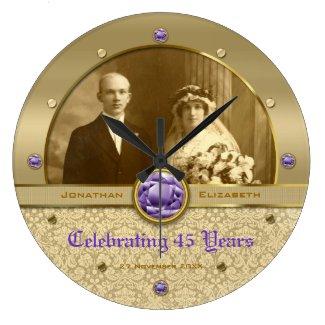 Custom Photo Clock Gold Amethyst Purple Gem Damask