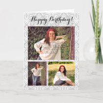 Custom Photo Collage 3 Picture Damask Birthday Card