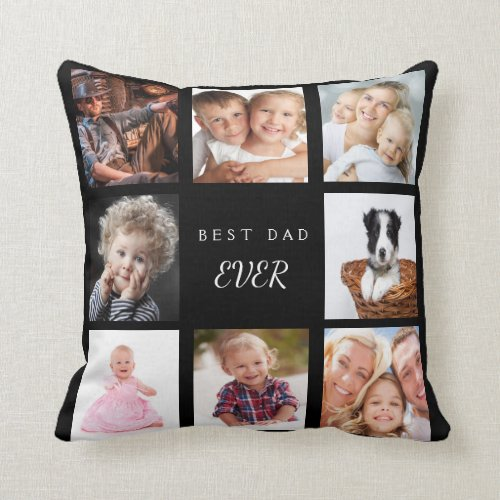 Custom photo collage best dad ever black throw pillow