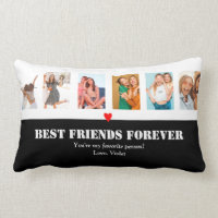 Custom Photo Collage BFF Birthday Gift Unique Lumbar Pillow