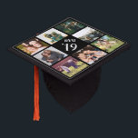 "Custom Photo Collage Graduation Cap Topper<br><div class=""desc"">Create a sweet keepsake of your school years with this custom grad cap topper. Customize with 9 square photos of your family,  friends,  relationship,  pets,  vacations or favorite memories. Personalize the center with your class year and school name in white lettering.</div>"