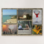 """Custom Photo Collage Jigsaw Puzzle<br><div class=""""desc"""">Make your own photo collage on a jigsaw puzzle template. Create a jigsaw puzzle from your own photos or pictures. Great gift idea for family and friends.</div>"""