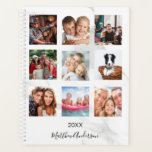 """Custom photo collage marble monogram 2022 white planner<br><div class=""""desc"""">Make your own unique family photo collage as a gift or for yourself. Use four, 9 of your favorite photos of your family, friends, dream travel destination or pet! Personalize and add a name and a year. The name is written with a modern hand lettered style script. A modern white...</div>"""