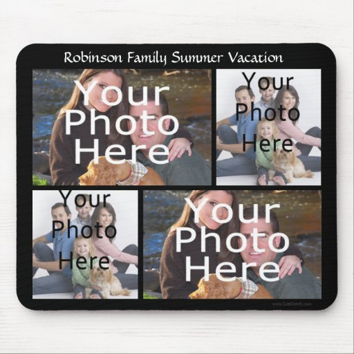 Custom Photo Collage Mousepad Add 4 Photos +Title