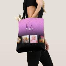 Custom photo collage on purple black monogrammed tote bag
