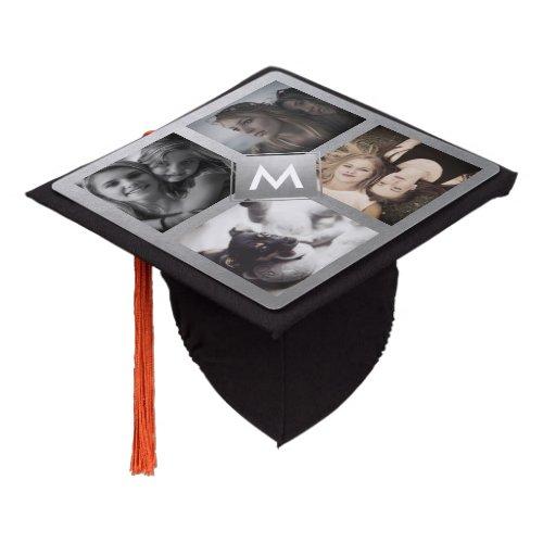 Custom Photo Collage Personalized Monogram Silver Graduation Cap Topper