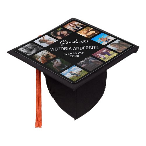 Custom Photo Collage Personalized Name Year Graduation Cap Topper