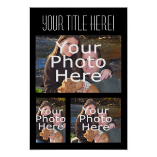 Custom Photo Collage Poster, Three Photos