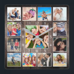 """Custom Photo Collage Rustic Farmhouse Family Baby Square Wall Clock<br><div class=""""desc"""">Create your own personalized 13 photo keepsake photo collage wall clock with your custom images on a rustic farmhouse style wooden plank background. Add your favorite photos, designs or artworks to create something really unique. To edit this design template, simply upload your own images and edit text fields as shown...</div>"""