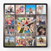 Custom Photo Collage Rustic Farmhouse Family Baby Square Wall Clock