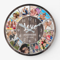 Custom Photo Collage Rustic Farmhouse Love Family Large Clock
