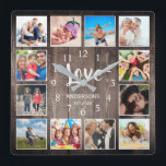 "Custom Photo Collage Rustic Farmhouse Love Family Square Wall Clock<br><div class=""desc"">Create your own personalized 12 photo Instagram photo collage wall clock with your custom images on a rustic farmhouse style wooden plank background. The clock face also features your family name, established year and a ""Love"" handwritten script. Add your favorite photos, designs or artworks to create something really unique. To...</div>"