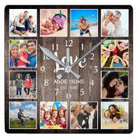 Custom Photo Collage Rustic Farmhouse Love Family Square Wall Clock