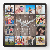 Custom Photo Collage Rustic Farmhouse Love Family Square Wall Clock