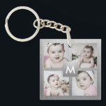 "Custom Photo Collage Silver Monogram 4 Images Keychain<br><div class=""desc"">Create your own personalized keychain with your custom images on a faux silver background. Add your favorite photos, design or artwork to create something really unique. To edit this design template, click &#39;Change&#39; button and upload your own images as shown above. Treat yourself or make the perfect gift for family,...</div>"