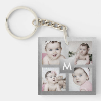 Custom Photo Collage Silver Monogram 4 Images Keychain