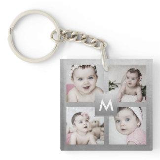 Custom Photo Collage Silver Monogram 4 Images Keychain