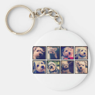 Custom Photo Collage with Square Photos Basic Round Button Keychain