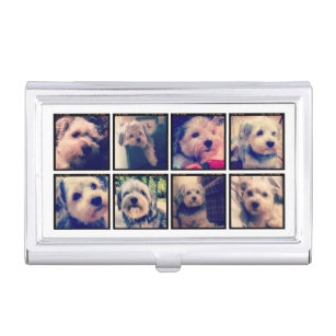 Square business card holders cases zazzle custom photo collage with square photos business card case colourmoves Images